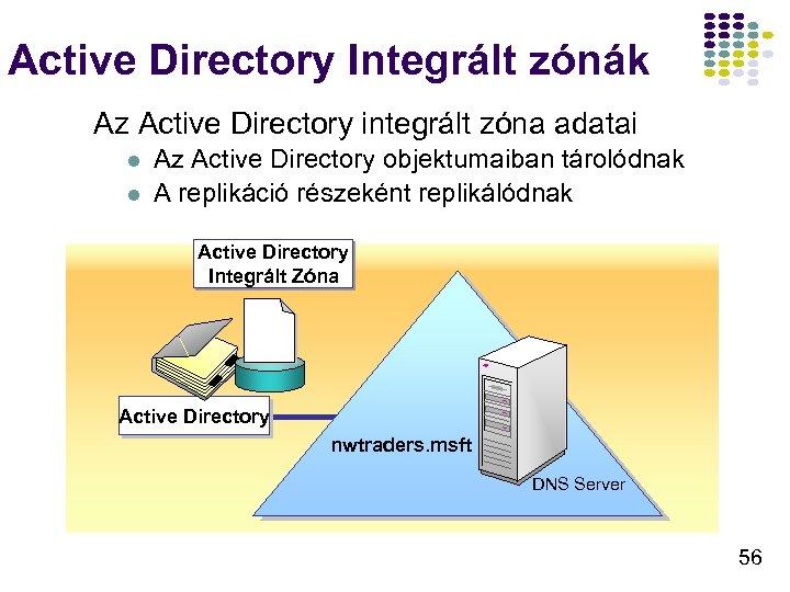 Active Directory Integrált zónák Az Active Directory integrált zóna adatai l l Az Active