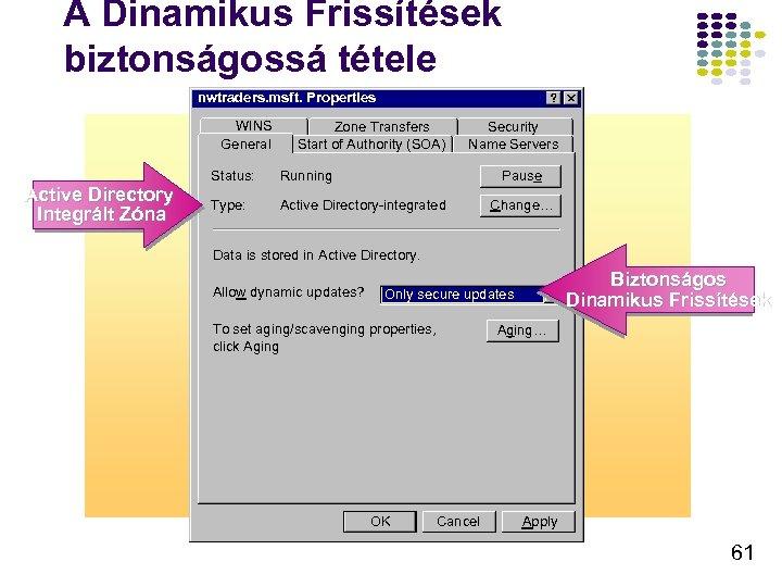 A Dinamikus Frissítések biztonságossá tétele nwtraders. msft. Properties WINS General Active Directory Integrált Zóna