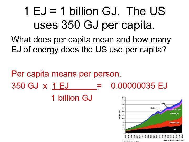 1 EJ = 1 billion GJ. The US uses 350 GJ per capita. What
