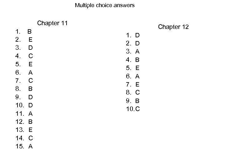 Multiple choice answers Chapter 11 1. 2. 3. 4. 5. 6. 7. 8. 9.