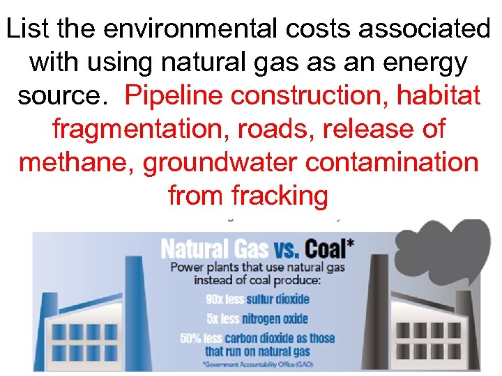 List the environmental costs associated with using natural gas as an energy source. Pipeline