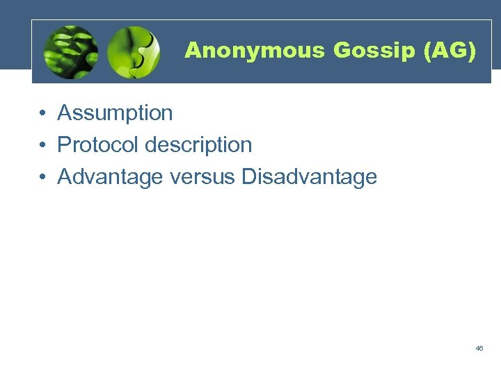 Anonymous Gossip (AG) • Assumption • Protocol description • Advantage versus Disadvantage 46