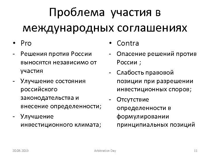 Проблема участия в международных соглашениях • Pro • Contra - Решения против России выносятся