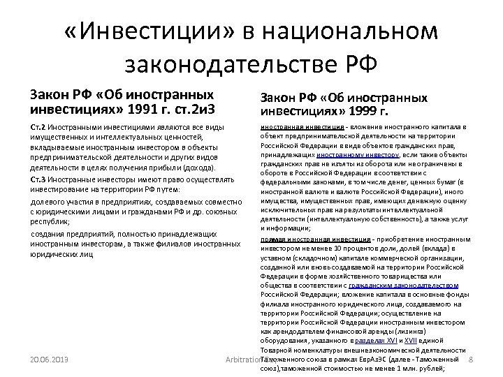 «Инвестиции» в национальном законодательстве РФ Закон РФ «Об иностранных инвестициях» 1991 г. ст.