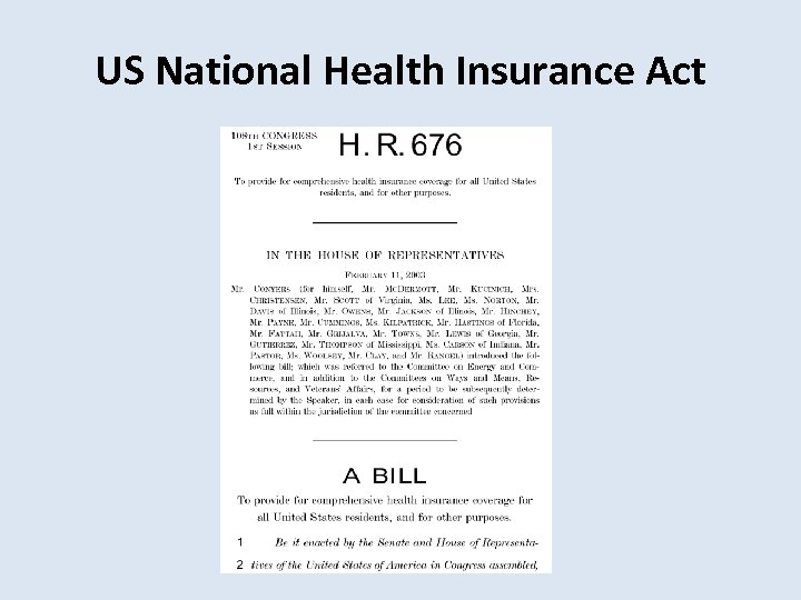 US National Health Insurance Act