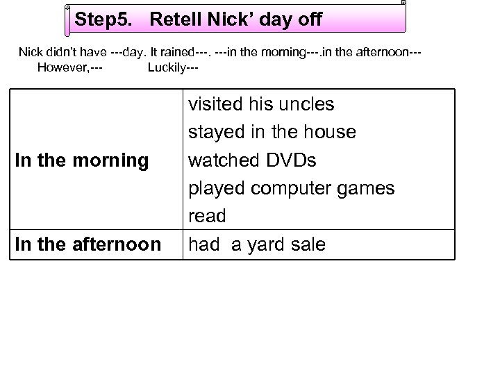 Step 5. Retell Nick' day off Nick didn't have ---day. It rained---. ---in the