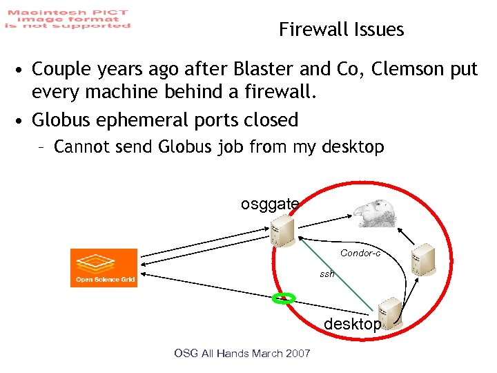 Firewall Issues • Couple years ago after Blaster and Co, Clemson put every machine