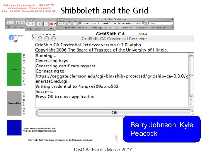 Shibboleth and the Grid Barry Johnson, Kyle Peacock OSG All Hands March 2007