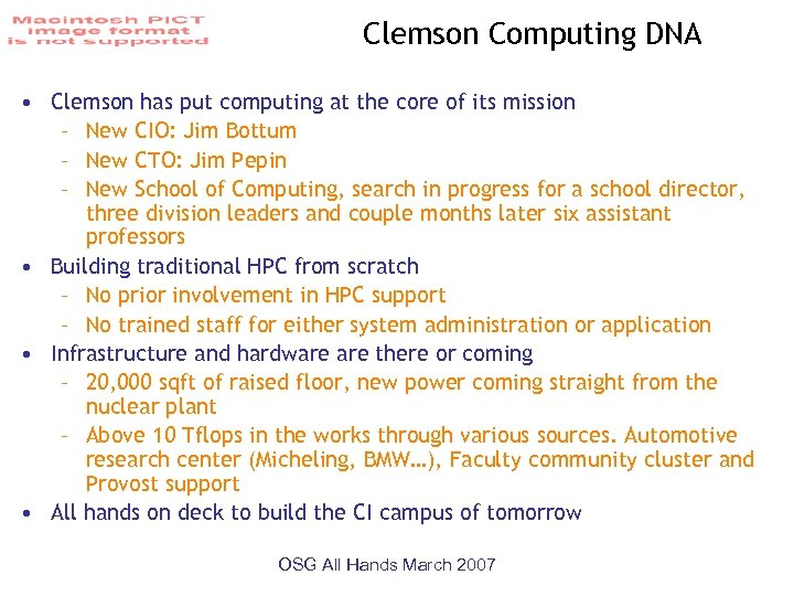 Clemson Computing DNA • Clemson has put computing at the core of its mission