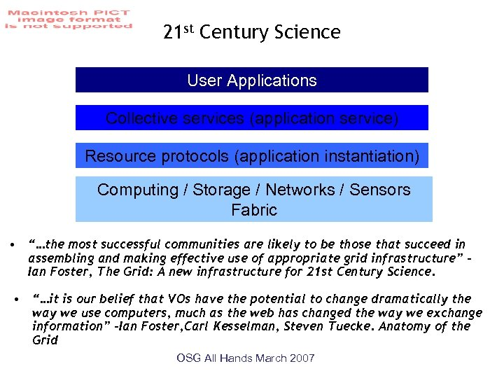 21 st Century Science User Applications Collective services (application service) Resource protocols (application instantiation)