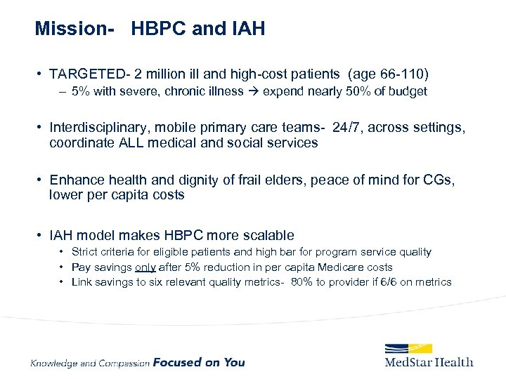Mission- HBPC and IAH • TARGETED- 2 million ill and high-cost patients (age 66
