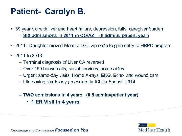 Patient- Carolyn B. • 69 year old with liver and heart failure, depression, falls,