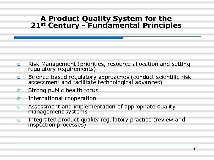 A Product Quality System for the 21 st Century - Fundamental Principles q Risk
