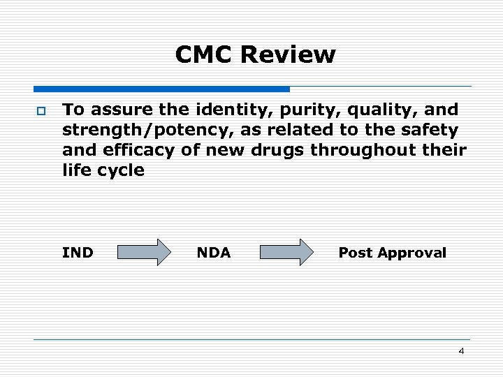 CMC Review o To assure the identity, purity, quality, and strength/potency, as related to