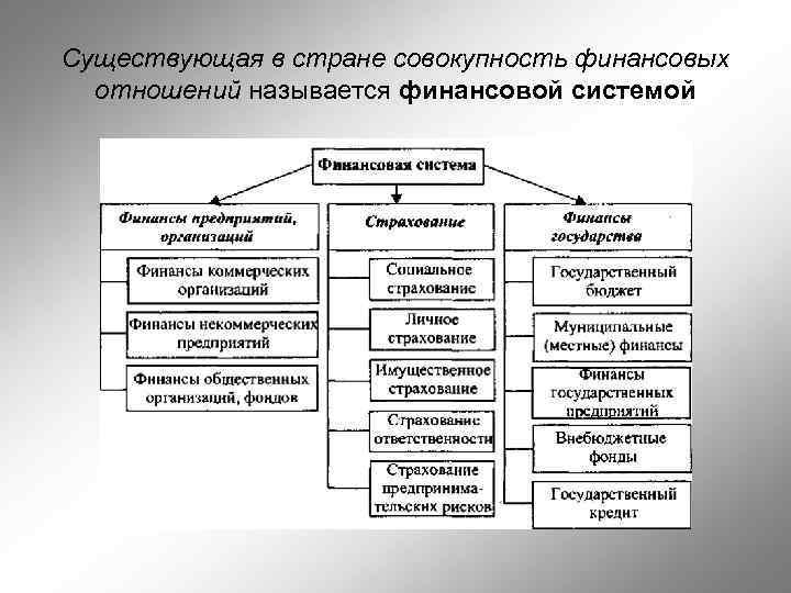 Существующая в стране совокупность финансовых отношений называется финансовой системой