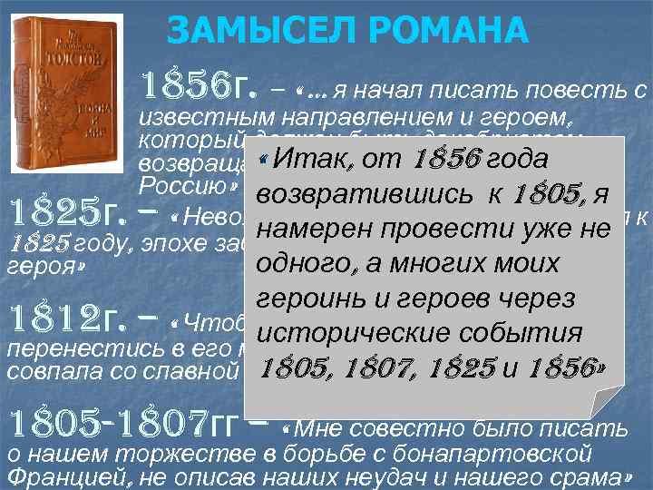 ЗАМЫСЕЛ РОМАНА 1856 г. – « … я начал писать повесть с известным направлением