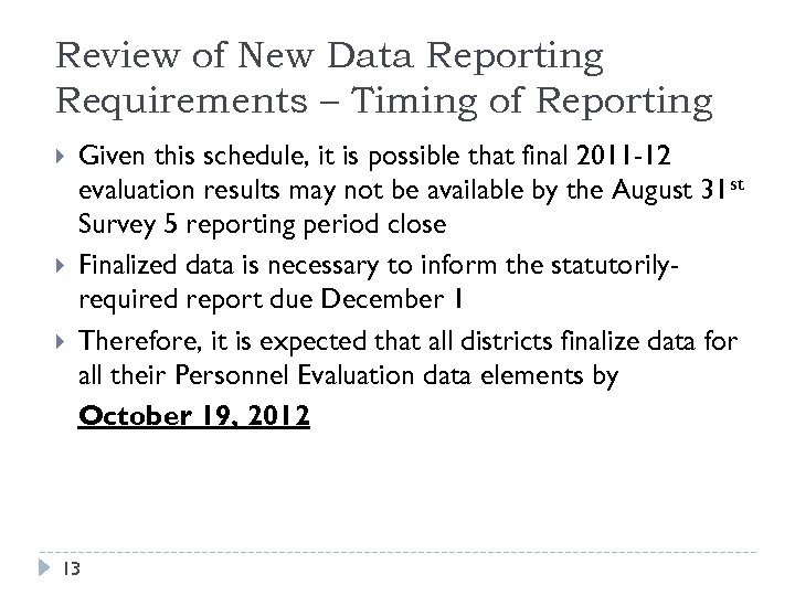 Review of New Data Reporting Requirements – Timing of Reporting Given this schedule, it