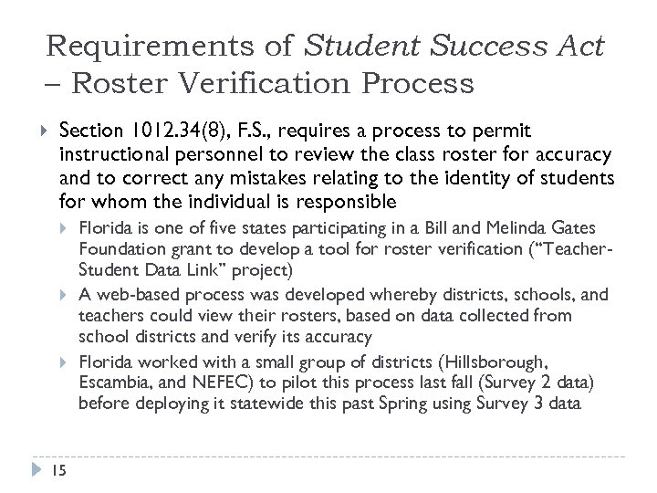 Requirements of Student Success Act – Roster Verification Process Section 1012. 34(8), F. S.