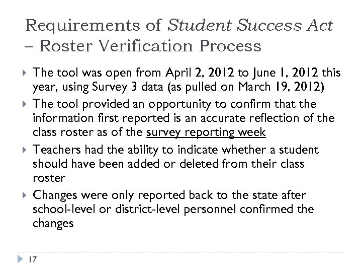 Requirements of Student Success Act – Roster Verification Process The tool was open from