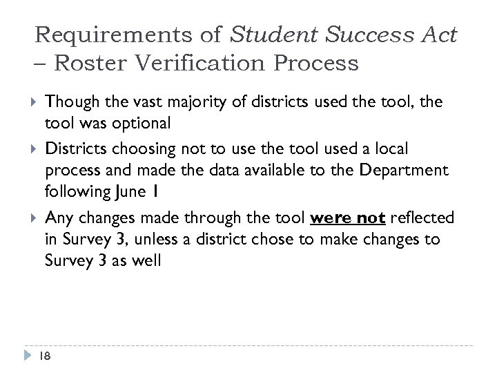 Requirements of Student Success Act – Roster Verification Process Though the vast majority of