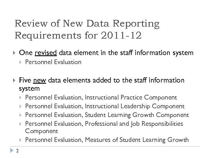 Review of New Data Reporting Requirements for 2011 -12 One revised data element in