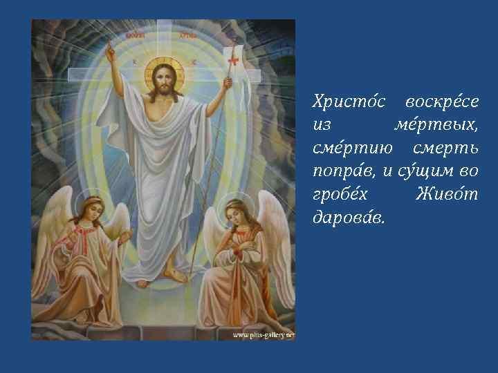 Христо с воскре се из ме ртвых, сме ртию смерть попра в, и су
