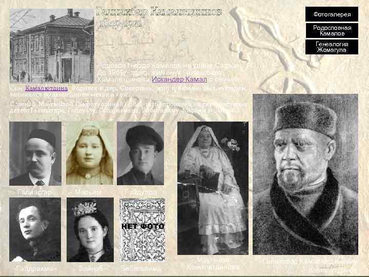 Галиакбар Камалетдинов (1849 -1921) Фотогалерея Родословная Камалов Генеалогия Жомагула Родовое гнездо Камалов на улице