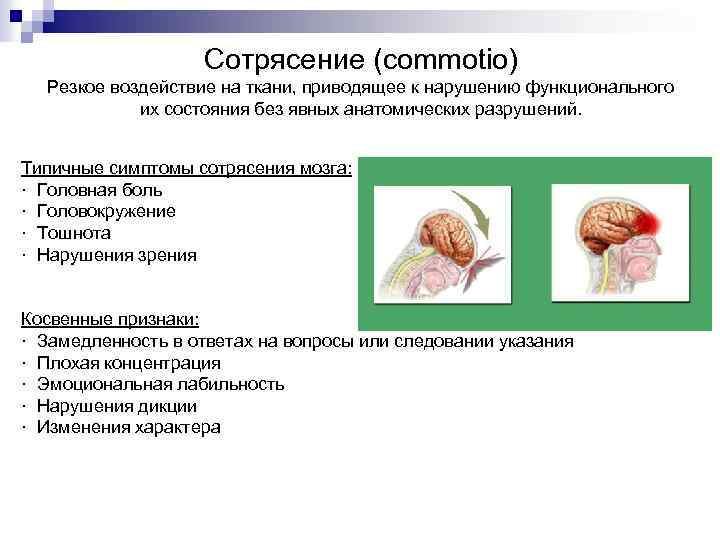 Сотрясение (commotio) Резкое воздействие на ткани, приводящее к нарушению функционального их состояния без явных