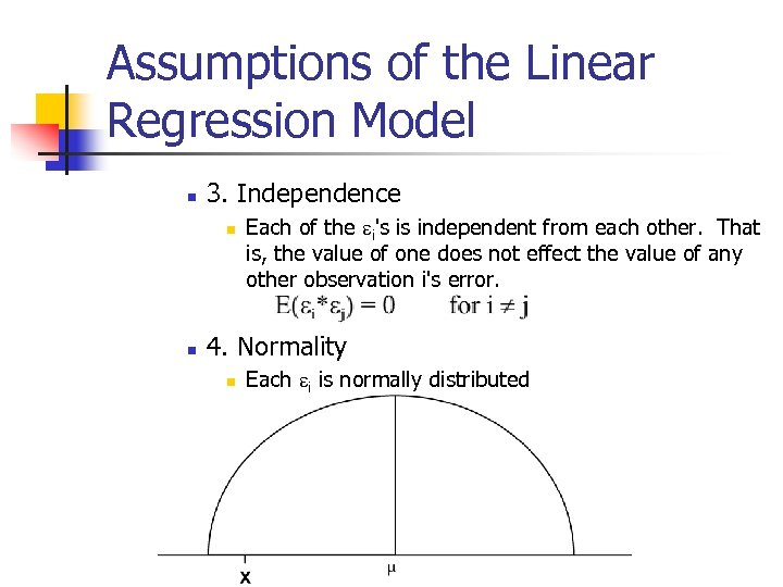 Assumptions of the Linear Regression Model n 3. Independence n n Each of the