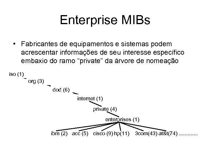 Enterprise MIBs • Fabricantes de equipamentos e sistemas podem acrescentar informações de seu interesse