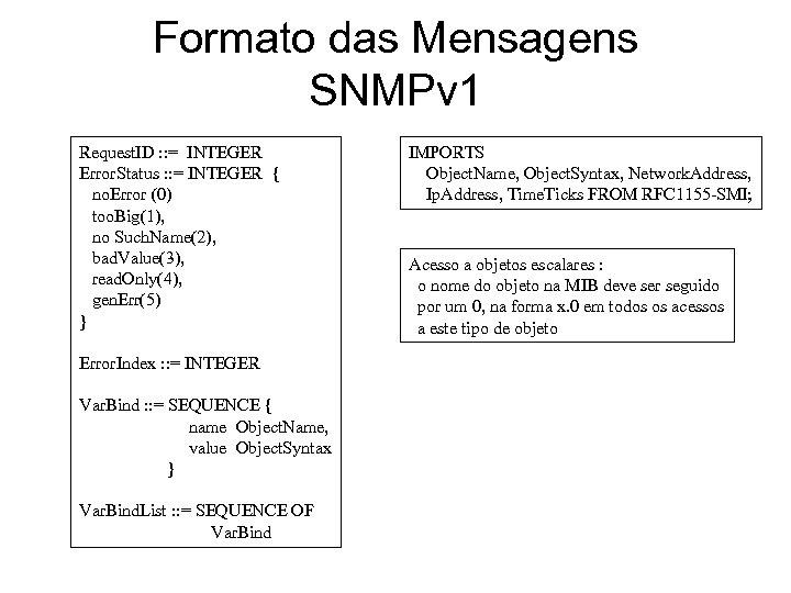 Formato das Mensagens SNMPv 1 Request. ID : : = INTEGER Error. Status :