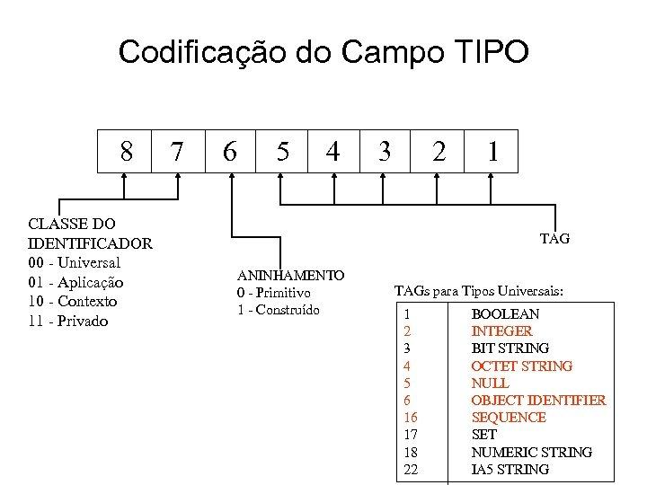 Codificação do Campo TIPO 8 CLASSE DO IDENTIFICADOR 00 - Universal 01 - Aplicação