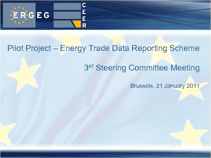 Pilot Project – Energy Trade Data Reporting Scheme 3 rd Steering Committee Meeting Brussels,