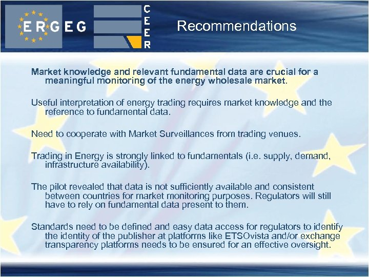 Recommendations Market knowledge and relevant fundamental data are crucial for a meaningful monitoring of