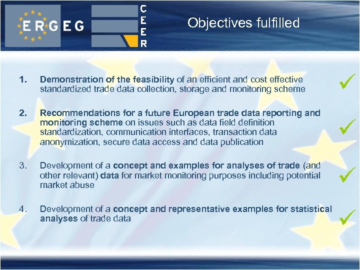Objectives fulfilled 1. Demonstration of the feasibility of an efficient and cost effective standardized