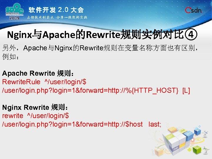 Nginx与Apache的Rewrite规则实例对比④ 另外,Apache与Nginx的Rewrite规则在变量名称方面也有区别, 例如: Apache Rewrite 规则: Rewrite. Rule ^/user/login/$ /user/login. php? login=1&forward=http: //%{HTTP_HOST} [L]
