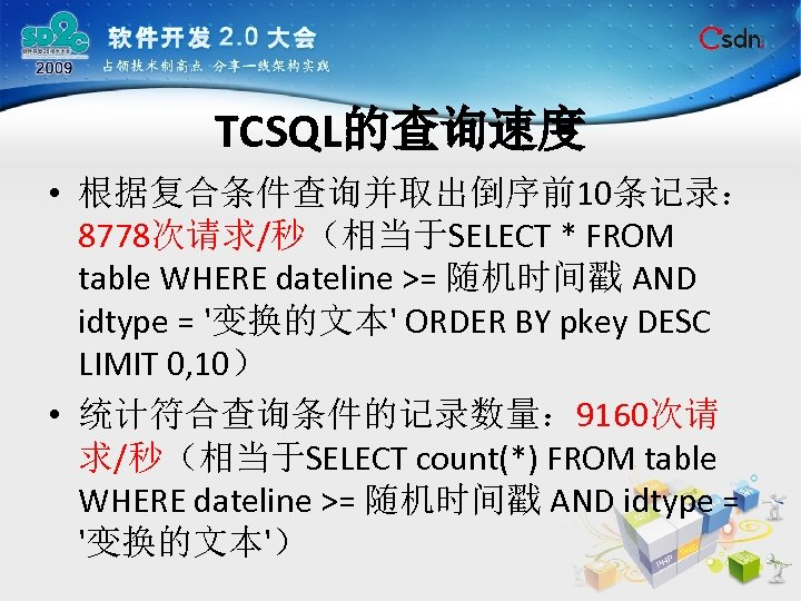 TCSQL的查询速度 • 根据复合条件查询并取出倒序前10条记录: 8778次请求/秒(相当于SELECT * FROM table WHERE dateline >= 随机时间戳 AND idtype =