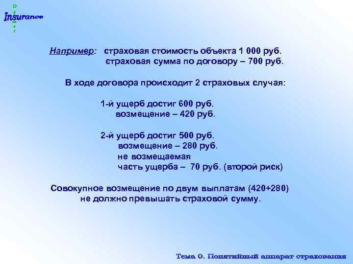 Например: страховая стоимость объекта 1 000 руб. страховая сумма по договору – 700 руб.