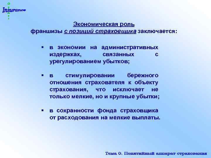 Экономическая роль франшизы с позиций страховщика заключается: § в экономии на административных издержках, связанных