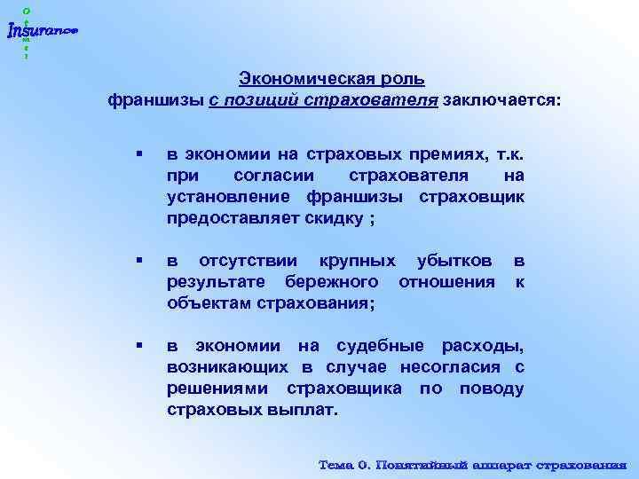 Экономическая роль франшизы с позиций страхователя заключается: § в экономии на страховых премиях, т.