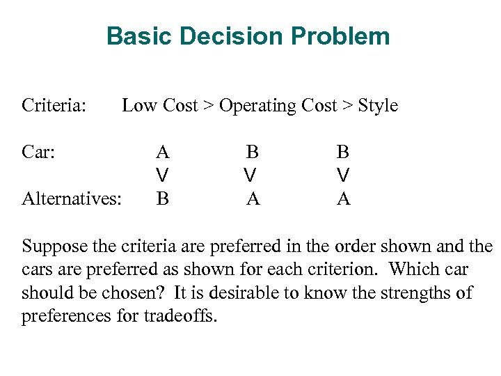 Basic Decision Problem Criteria: Low Cost > Operating Cost > Style Car: Alternatives: A