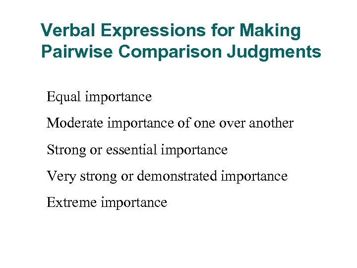 Verbal Expressions for Making Pairwise Comparison Judgments Equal importance Moderate importance of one over