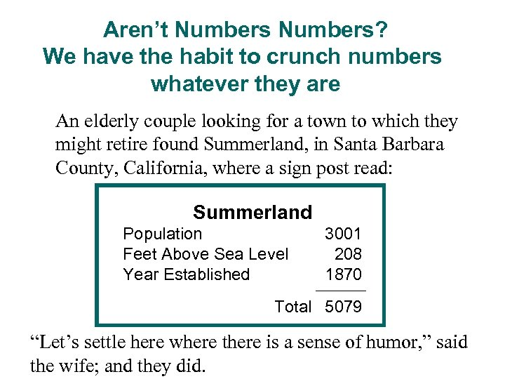 Aren't Numbers? We have the habit to crunch numbers whatever they are An elderly