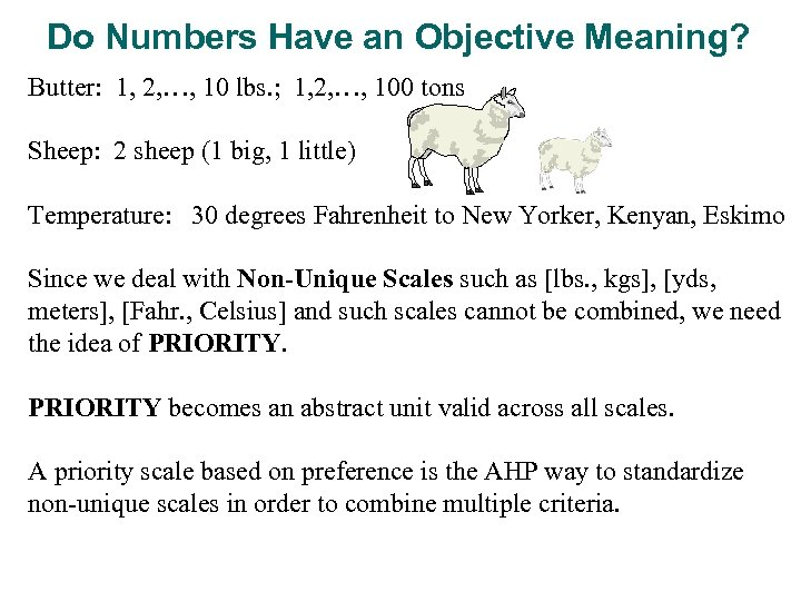 Do Numbers Have an Objective Meaning? Butter: 1, 2, …, 10 lbs. ; 1,