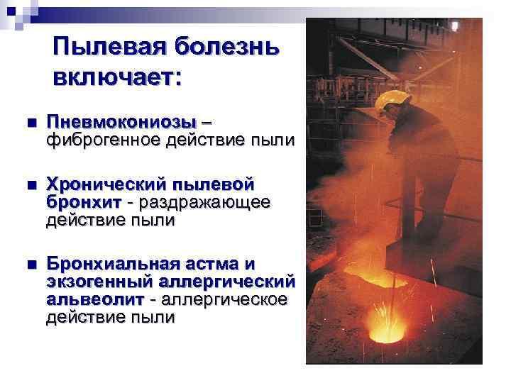 Пылевая болезнь включает: n Пневмокониозы – фиброгенное действие пыли n Хронический пылевой бронхит -