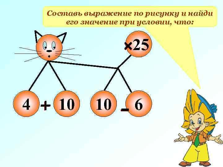Составь выражение по рисунку и найди его значение при условии, что: 25 4 10