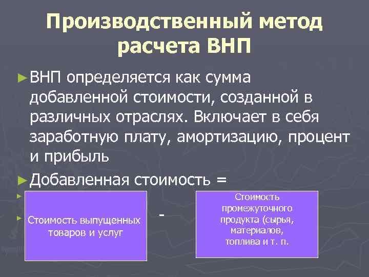 Производственный метод расчета ВНП ► ВНП определяется как сумма добавленной стоимости, созданной в различных