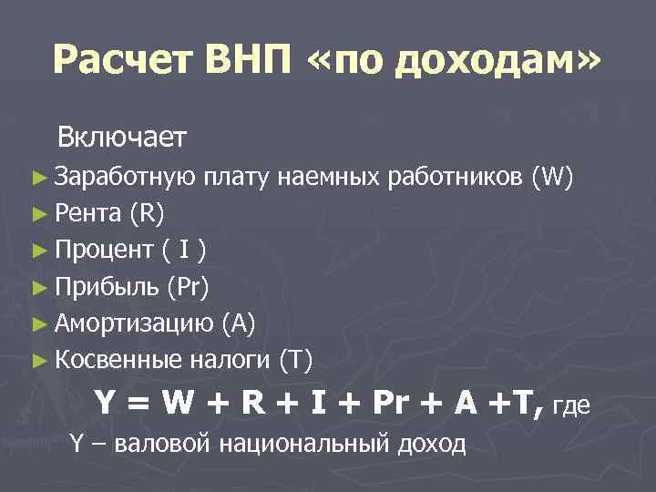 Расчет ВНП «по доходам» Включает ► Заработную плату наемных работников (W) ► Рента (R)