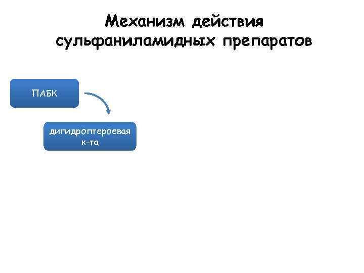 Механизм действия сульфаниламидных препаратов ПАБК дигидроптероевая к-та