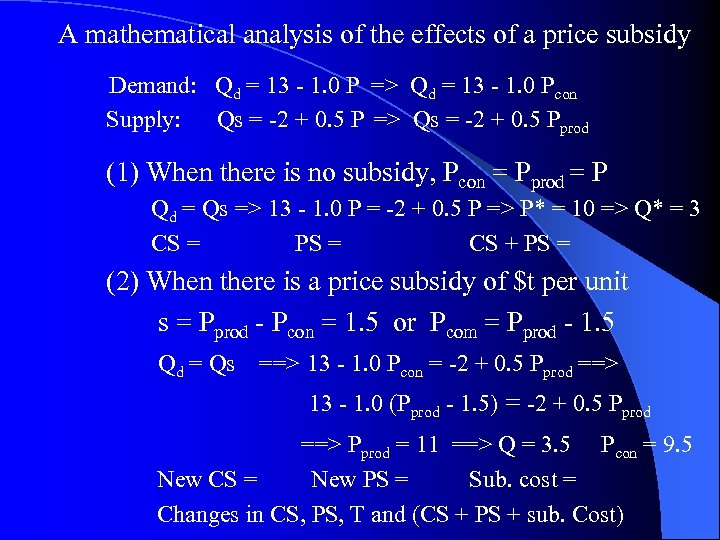 A mathematical analysis of the effects of a price subsidy Demand: Qd = 13